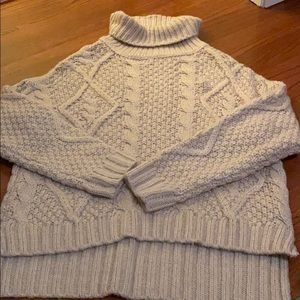 cream cableknit turtle neck sweater